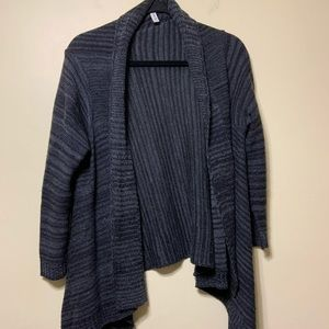 Large gray open cardigan